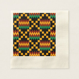 Black, Green, Red, and Yellow Kente Cloth Paper Napkin