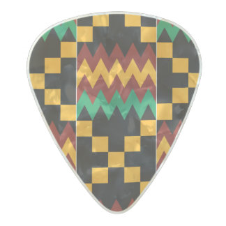 Black, Green, Red, and Yellow Kente Cloth Pearl Celluloid Guitar Pick