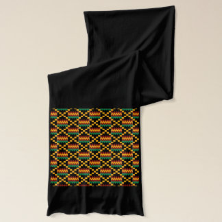 Black, Green, Red, and Yellow Kente Cloth Scarf