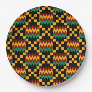 Black, Green, Red, and Yellow Kente Cloth 9 Inch Paper Plate