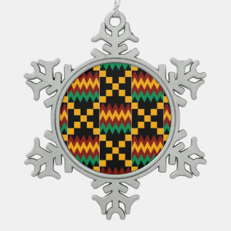 Black, Green, Red, and Yellow Kente Cloth Snowflake Pewter Christmas Ornament