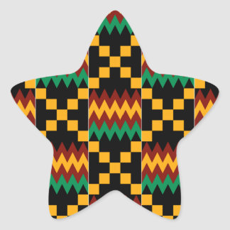 Black, Green, Red, and Yellow Kente Cloth Star Sticker