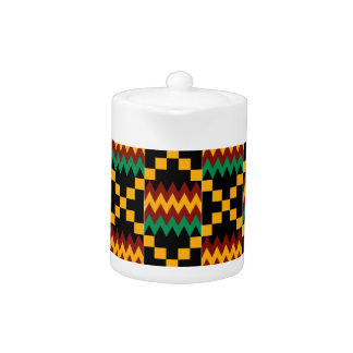 Black, Green, Red, and Yellow Kente Cloth Teapot