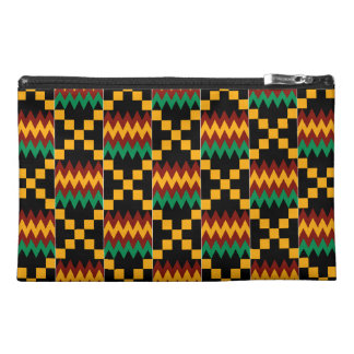 Black, Green, Red, and Yellow Kente Cloth Travel Accessory Bag