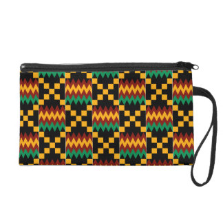 Black, Green, Red, and Yellow Kente Cloth Wristlets