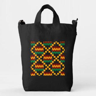Black, Green, Red, Yellow Kente Cloth Duck Canvas Bag