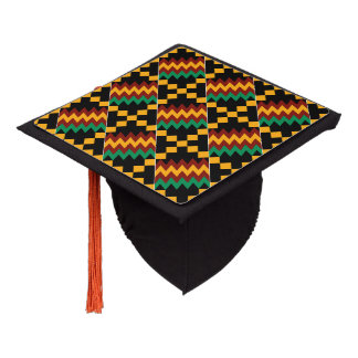 Black, Green, Red, Yellow Kente Cloth Graduation Cap Topper