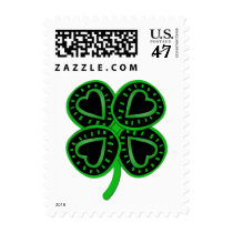 Black Green Shamrock -1- St Patrick's Day Stamp