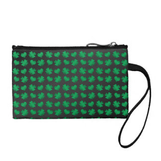 Black green shamrocks and hearts change purse