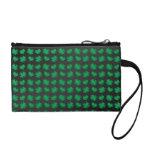 Black green shamrocks and hearts coin wallet