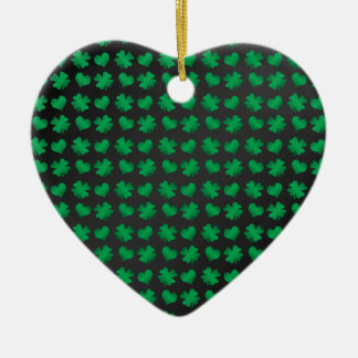 Black green shamrocks and hearts Double-Sided heart ceramic christmas ornament