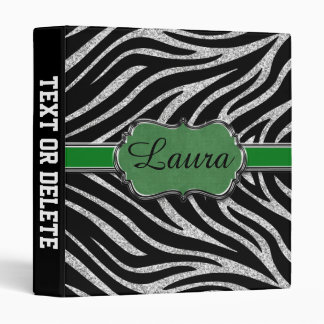 Black Green Silver Glitter Zebra Personalized 3 Ring Binder