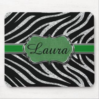 Black Green Silver Glitter Zebra Personalized Mouse Pad