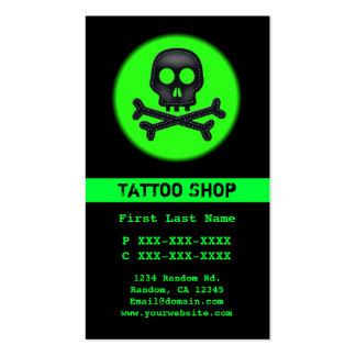 Black green skull tattoo custom business cards