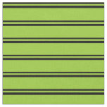 [ Thumbnail: Black & Green Stripes Pattern Fabric ]