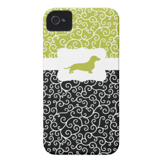 Black&Green Swirls w/Dachshund iPhone 4 Case-Mate Case