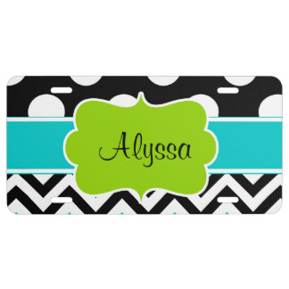 Black Green Teal Dots Chevron Personalized License Plate
