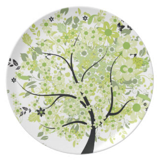 Black-Green Tree Party Plates