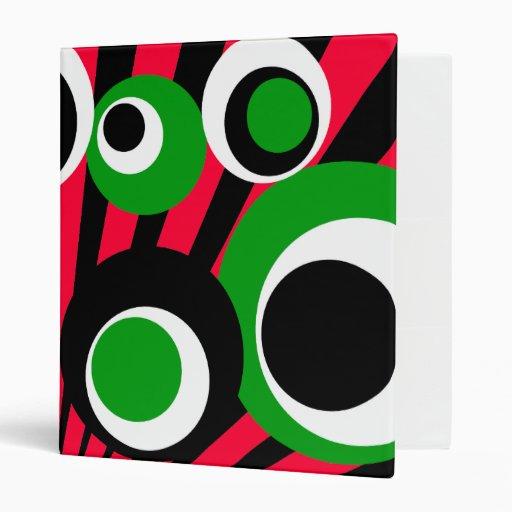 black green white dots Black Burst 3 Ring Binders