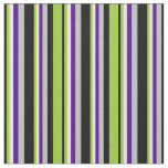 [ Thumbnail: Black, Green, White, Indigo & Grey Lines Fabric ]