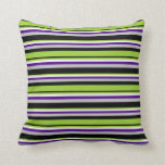 [ Thumbnail: Black, Green, White, Indigo & Grey Lines Pillow ]