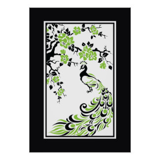 Black green white peacock and cherry blossoms print
