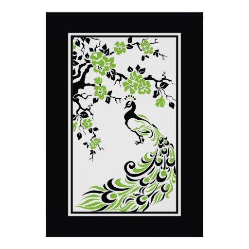Black, green, white peacock and cherry blossoms print