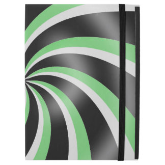 Black Green & White Swirl Pattern Design iPad Case