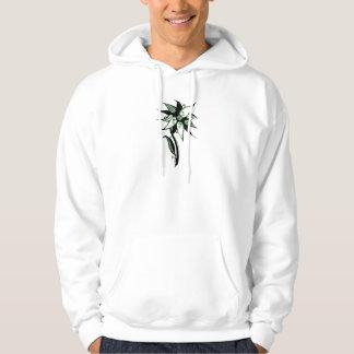 Black Green & White Swirly Flower by Naomi Hoodie