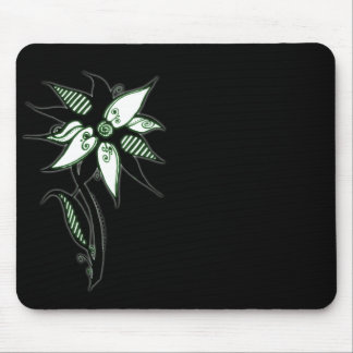 Black Green White Swirly Flower by Naomi Mouse Pads