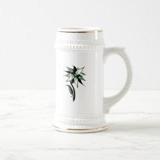 Black Green & White Swirly Flower by Naomi 18 Oz Beer Stein