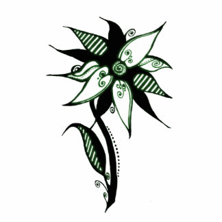 Black Green & White Swirly Flower by Naomi Statuette