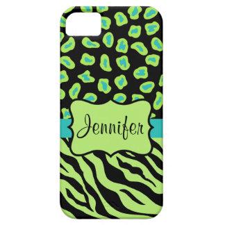 Black Green Zebra Leopard Skin Name Personalized iPhone SE/5/5s Case