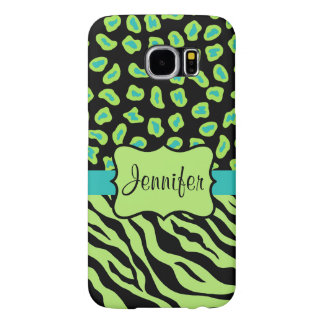 Black Green Zebra Leopard Skin Name Personalized Samsung Galaxy S6 Cases