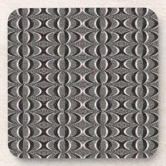 black grey abstract retro  pattern drink coaster