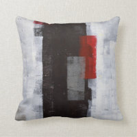 Black, Grey and Red Abstract Art Pillow
