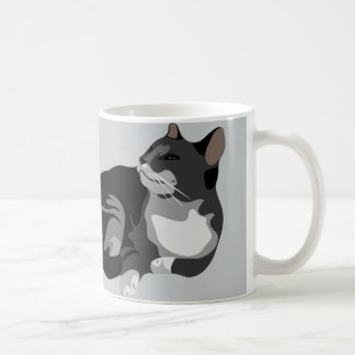 Black grey and white arty cat design coffee mug