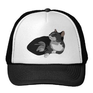 Black grey and white arty cat design trucker hat