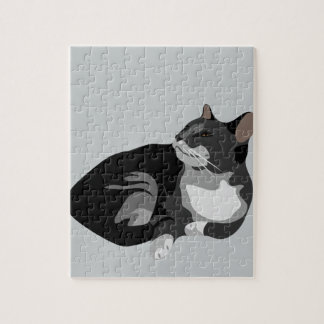 Black grey and white arty cat design jigsaw puzzle