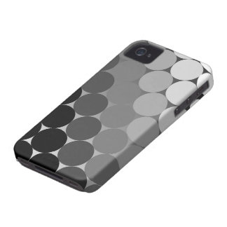 Black, Grey and White Geometric Cirlces Pattern iPhone 4 Case-Mate Cases