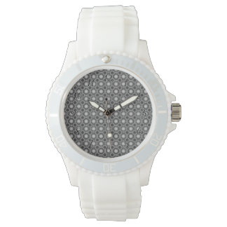 Black, grey and White Optical Illusion Circles Watch