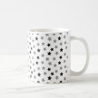 Black Grey and White Stars Mug