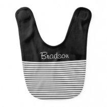 Black, Grey and White Stripe Baby Bib