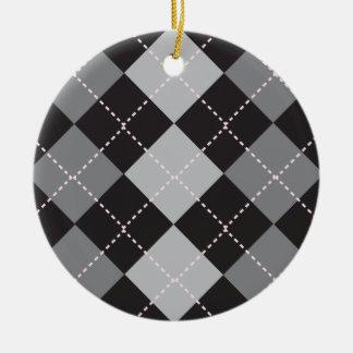 Black Grey Argyle Pattern Double-Sided Ceramic Round Christmas Ornament