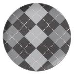 Black Grey Argyle Pattern Party Plates