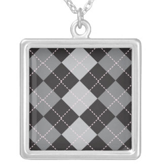 Black Grey Argyle Pattern Silver Plated Necklace