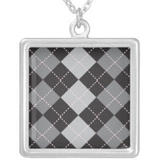 Black Grey Argyle Pattern Silver Plated Necklace