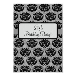 Black Grey Art Nouveau Damask 21st Birthday Party 5x7 Paper Invitation Card