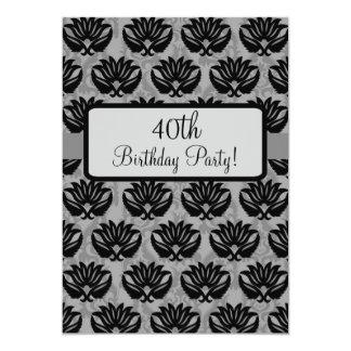 Black Grey Art Nouveau Damask 40th Birthday Party 5x7 Paper Invitation Card