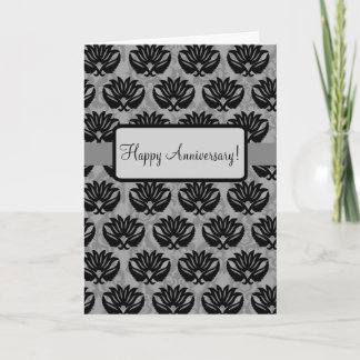 Black Grey Art Nouveau Damask Happy Anniversary Note Card